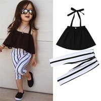 Wholesale girls clothing for sale - 1 Y Cute Girls Summer Clothing Kid Strap Tops Striped Pants Leggings Outfits Kids Fashion Clothes toddler girl clothes