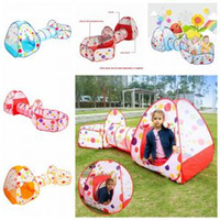 Wholesale baby ball tent online - 3 in Foldable Children s Tent Pop Up Play House tunnel and ball pool Indoor Outdoor Children Baby Toys house tent set FFA1132