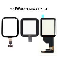 reloj de pantalla negro al por mayor-Reemplazo de la Asamblea del Digitalizador de Pantalla Táctil de Cristal Frontal negro para Apple Watch iWatch 38mm 42mm 40mm 44mm Serie 1 2 3 4
