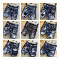 imagens de jeans buracos venda por atacado-Imagem Real Itália ICON Homens D2 Jeans Rasgado Moda Motociclista Curto Jean Calças Jeans Casual Streetwear Buraco Estilo Shorts Jeans 44-54