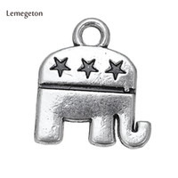 ювелирная вечеринка оптовых-Lemegeton 15pcs Metal Charms For Jewelry Making The Elephant American Republican Party Bracelet Charm DIY Bracelet Charm