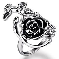 neujahrsblume großhandel-Neue schwarze rose ring mit cz micro pave weihnachten neujahr party schmuck vintage blume ringe für frauen großhandel groß