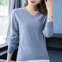 Wholesale flattering clothes for plus size resale online - New sweater for women autumn winter clothes women long sleeve sweater plus size v neck pullovers B905