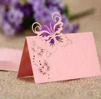 formas de tarjetas de mariposa al por mayor-2019 Laser Cut Butterfly Heart Shape Seat Card Wedding Party Table Name Place Cards Favorecer la decoración de la mesa