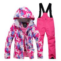ingrosso set termici per bambini-Inverno bambini neve tuta da sci tuta da sci set all'aperto Gilr / ragazzo sci snowboard abbigliamento impermeabile giacca termica + pantaloni