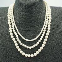 ingrosso perle bianche finte-Collana di perle conchiglia Gioielli Rotondo Bianco Naturale Conchiglia di perle Collana di moda Perle finte Perle di perle finte Collane