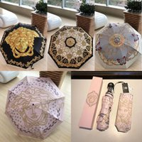 ingrosso scatole regalo pieghevoli-Ombrelli di marca donne leggere antivento all'aperto a prova di ultravioletti Pioggia Ombrelli ombrelli femminili di parasole portatile con scatola regalo