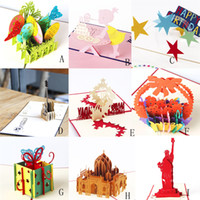 Wholesale pop up cards cake resale online - Creative D Pop Up Greeting Card Laser Cut Birthday Cake and Girl PostCard Greeting Cards Party Invitation Card Gift Paper Cards