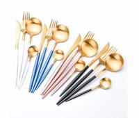 ingrosso stoviglie di qualità-2018 Nuovo design di alta qualità 4 pezzi / set portatile di lusso in oro set di posate in acciaio inox 304 set da tavola in acciaio inox Accessori da cucina