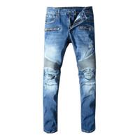 Wholesale tie dye ties men online - Luxury Mens Jeans Luxury Distressed Ripped Biker Jeans Slim Fit Motorcycle Biker Denim Jean Men Hip Hop Designer Pants