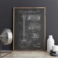 posters guitarras al por mayor-Gibson Les Guitar, póster de arte, impresiones de cuadros, póster, decoración del hogar, impresión vintage, plano, idea de regalo, decoraciones musicales