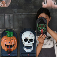 Wholesale up decor resale online - Halloween Decoration Prop Ghost Doorbell Decor with Scary Sound and Light Up Terror Scary Haunted House Decoration Party Supplies JK1909