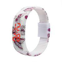 einfache uhren für mädchen großhandel-Fitness-Uhr-einfaches dünnes Jungen-Mädchen-Sport-Silikon-Digital-LED Armband-Armbanduhr Erkek Kol Saati Digitaluhr