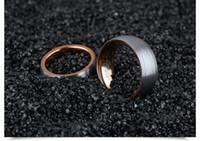 anéis pretos fosco venda por atacado-Anel de Casal de Aço de tungstênio 8mm / 6mm de Largura Preto Rosa de Ouro Completa Arco Geada Anel Casal anel