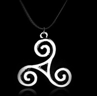 Wholesale teen wolf allison pendant for sale - Group buy 10pcs Vintage Silver Triskelion Allison Teen Wolf Ohm Dog Paw Prints Flam Necklace Pendant Choker Jewelry For Women Gift B118