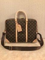 deri evrak çantaları dizüstü bilgisayar messenger çantaları toptan satış-2019 tasarımcı lüks moda omuz çantası erkek deri evrak çantası erkek laptop çantası Messenger çanta