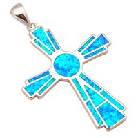 Wholesale camera chain jewelry for sale - camera g cross pendant for women new arrival Blue Fire Opal popular Silver Stamped Fashion jewelry OP524