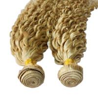 dhl kıvırcık saç toptan satış-DHL Fedex Ücretsiz 100 g / adet 2 adet / grup brezilyalı malezya kinky kıvırcık sarışın renk 613 bakire remy İnsan saç dokuma uzantıları