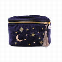Wholesale velvet cosmetic bags resale online - 2019 New Cute Star Embroidered Velvet Cosmetic Bag Travel Fashion Women Cosmetics Makeup Bag Large Capacity Women Wash