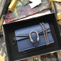 Wholesale ladies genuine cow leather handbag for sale - Group buy Classic Golden Chain Handbag in Cow Leather Women Shoulder Bag Cross Body Dark Blue for Fashion Lady