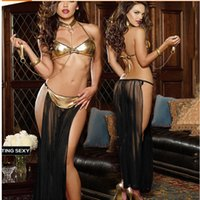 sexy prinzessin fancy kleid halloween groihandel-Freie Verschiffen erwachsene Frauen reizvolle Prinzessin Leia Slave Costume Bikini Fancy Dress Cosplay Halloween-Kostüme für Damen