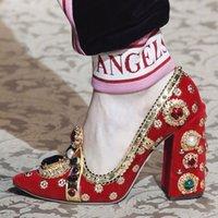 vestido com jóias vermelhas venda por atacado-2019 Diamante Verde Jeweled Sapatos de Salto Mulher Dedo Do Pé Redondo Strass Bombas Mulheres Sapatos de Festa de Strass Vermelho Vestido Sapatos Mulher