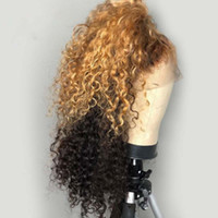 Wholesale colored lace wigs resale online - PAFF Ombre Colored Lace Front wig curly Human Hair Wigs For Women Remy Brazilian hair with baby hair Pre Plucked