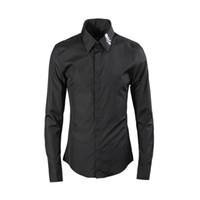 фирменные прохладные хлопковые рубашки оптовых-Solid Men Shirt 2019 Long Sleeve Cool Skull Embroidery Collar Slim Casual Business Male Dress Shirts  80% Cotton Camisas