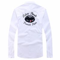 erkekler moda gündelik gömlek tasarımı toptan satış-Eden Park Chemise Eril gömlekler erkek Polo Güzel Kalite Moda marka Tasarımı gündelik katı pamuk nakış gömlek M L XL XXL başında