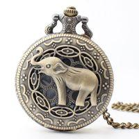 bronze elefanten halskette groihandel-Taschenuhr Taschenuhr Bronze Niedlichen Tier Elefanten Quarz Taschenuhr Halskette Anhänger Kette Weihnachtsgeschenk Männer / Frauen