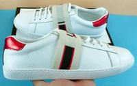Wholesale tennis shoes brand online - NEW Luxury designer ace shoes men white tape leather women casual brand sneaker green red stripe embroidery pearl snake tiger size