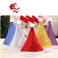 payet bere şapkaları toptan satış-Yeni Sequins Yetişkinler Noel Şapka Moda Kış Sıcak Ponpon Santa Beanie Şapka Düğün Malzemeleri Ev Dekorasyon T2C5084