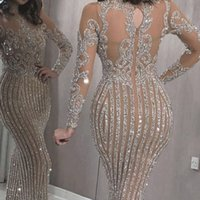 Wholesale arabic dresses for sale - Group buy Gorgeous Long Sleeves High Neck Mermaid Evening Gowns See Through Lace Formal Prom Dresses Arabic Celebrity Gowns