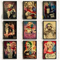 pinturas frameless enmarcadas al por mayor-Suicide Squad Retro Poster Harley Quinn y The Joker Good Impreso Art Poster Vintage Kraft Paper Bar Home Decor pintura