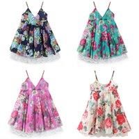 gelinlik plaj kızı toptan satış-Bebek kız elbise Yaz Pamuk Kolsuz Sling dantel çiçek kız gelinlik çocuklar tasarımcı giysi kızlar plaj elbise kulübü balo Elbise