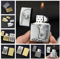 Wholesale kitchen tools for sale resale online - Newest Emboss Church Metal Butane Smoking Wheel lighter NO Gas For Cigarette Flame Open Fire Lighter Styles Choose Cigar kitchen tool Sale