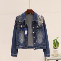 chaqueta jeans cuentas al por mayor-2019 Fall Fashion Heavy Industry Nail Bead Stereo Flower Short Jean Jacket Womens Loose Denim Coat Outwear Mujer Jeans Abrigos