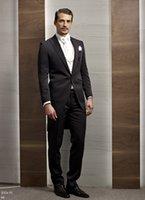 утренний стиль куртки оптовых-Фрак / утренний стиль жениха смокинги жениха пика отворотом лучший мужской костюм свадебные / мужские костюмы жених (куртка + брюки + жилет + галстук) A554