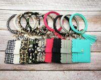 schlangenhautarmbänder groihandel-Leopard Snakeskin PU-Leder-Schlüsselring-Armband-Mini Clutch Kunstleder Quaste Camo-Armband-Armbänder mit Kreditkarte-Mappen-Geldbeutel
