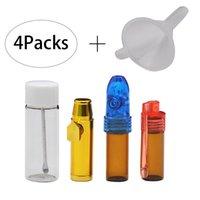 ingrosso micro proiettili-1 set 4 Snuff Bullet Bottle with Spoon Inside Micro Imbuto Snuff Snorter Sneaker Dispenser Pipa Accessori da fumo