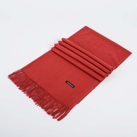 Wholesale pink pashmina shawls acrylic resale online - Autumn winter monochrome imitation cashmere fashion shawl wild classic solid color tassel scarf