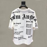 baumwollt-shirt-batting großhandel-Sommer Herren Designer T Shirts europäischen und amerikanischen Modemarke PALM ANGELS Print Fledermaus Ärmel lose beiläufige Kurzarm Rundhalsausschnitt Baumwolle