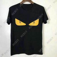 gelbe hemden für männer mode großhandel-Sommer Mode Designer Luxus Marke Männer T-Shirt T-Shirt 3D gelb kleine Leder Augendruck Tshirt Kurzarm T-Shirt lässig Tees Casual Top