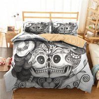 Wholesale skulls bedding for sale - Group buy A Bedding Set D Printed Duvet Cover Bed Set Horror Skull Home Textiles for Adults Bedclothes with Pillowcase KL36