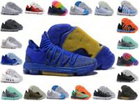 gökkuşağı basketbol ayakkabıları toptan satış-Erkek Doğru Sürüm Zoom KD 10 EP Basketbol Ayakkabıları Kevin Durant X kds 10 s Gökkuşağı Kurt Gri KD10 FMVP Spor Sneakers ABD 40-46