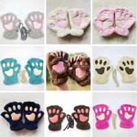 Wholesale cosplay plush for sale - Group buy Cute Cat Paw Plush Gloves Soft Winter Warm Gloves Halloween Christmas Cosplay Mittens Kids Women Mittens HHA646