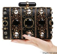 Wholesale dinner clutches resale online - New Women s Beaded High end Banquet Noble Evening Bag Black Diamond Beautiful Handmade Dinner Clutch Fast Shipping Decoration