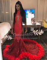 tüyler gece elbisesi gerçek toptan satış-GERÇEK afrika Arapça Siyah Kızlar Kırmızı 2K17 Gelinlik Modelleri ile Tüy 2019 Mermaid Örgün Elbise Akşam Parti Giyim Backless Halter Vintage Dantel