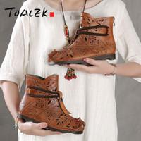ingrosso sandali di stile etnico-Sandali da donna in pelle stile etnico retrò fatti a mano scarpe primavera ed estate sandali caviglia pelle di pecora