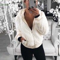 kürklü kaput bombardımanı ceketi toptan satış-Sonbahar Kış Kadın Sıcak Faux Fur Fermuar Kapşonlu Kadife Bombacı Ceket Kadın Kırmızı Polar Teddy Coat Bayanlar Kabartmak Yumuşak Giysiler 3XL